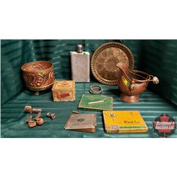 Collector Combo : Copper Pot, Cigarette Tins, Vintage Shotgun Shell Box, Flask, Gentleman's Arm Band