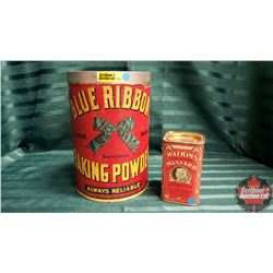 Blue Ribbon Baking Powder Tin & Watkins Mustard Tin
