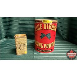 Blue Ribbon Baking Powder Tin & Watkins Ginger Tin