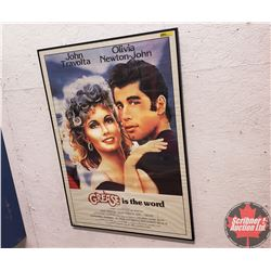 "Framed GREASE Movie Poster (34""H x 24""W) (Note: Frame glass cracked)"