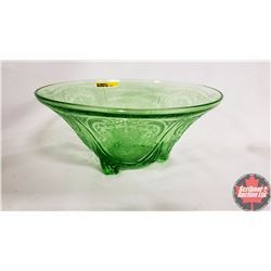 Royal Lace Green Depression Glass Fruit Bowl (Vaseline Glass)