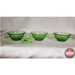 Royal Lace Green Depression Glass Soup Bowls (Vaseline Glass)