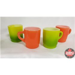 4 Retro Fireking Coffee Mugs