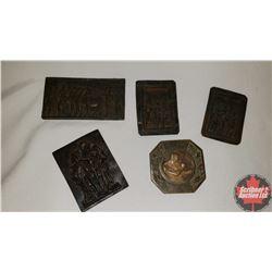 5 Bronze Relief Plaques