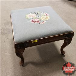 "Petit Point Footstool (15""H x 20""W x 20""L)"