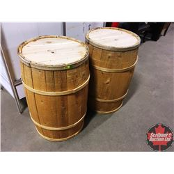 "Pair of Wooden Barrels (30""H)"