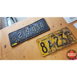 License Plates (2): 1938 New York & 1942 Ontario