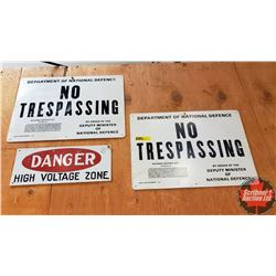 "3 Signs : (2) Department of National Defense ""No Trespassing"" (9"" x 13"") & ""DANGER High Voltage Zone"