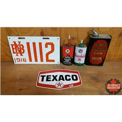 Box Lot - Collector Combo : Reproduction NB Lic Plate, Texaco Sticker, Texaco Home Lubricant Can, B/