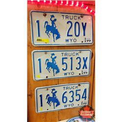 Truck License Plates (3) Wyoming
