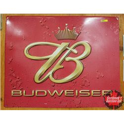 "Single Sided Tin Sign ""Budweiser"" (24"" x 29"") Embossed"