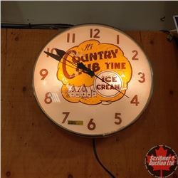 "Electric Light Up Wall Clock ""Country Club Time Ice Cream"" (15"")"