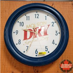 "Neon Wall Clock ""Molson Dry"" (Clock working - Neon Not Working) (16"")"