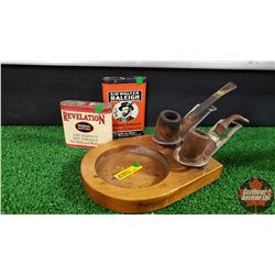 Pipe Stand w/2 Pipes & 2 Tobacco Tins