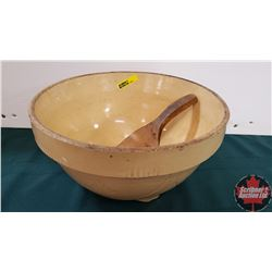 """COMBO: """"M. Naimark Ask For Royal Household Flour Sceptre, Sask"""" Mixing Bowl & Wooden Paddle"""