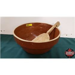 Brown Mixing Bowl & Wooden Paddle