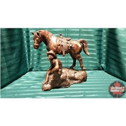 1970's Austin Productions Horse & Cowboy Chalk Statue with Bronze Finish (10lbs)