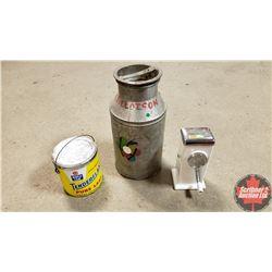 Kitchen Trio : Cream Can, Lard Pail & Ice Crusher