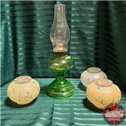 Coal Oil Lamp - Green Base & 3 Glass Light Globes