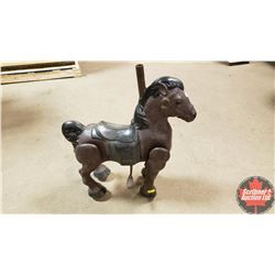 Antique Tin Horse (Wheels in Hoof) (Pole Insert on Top)