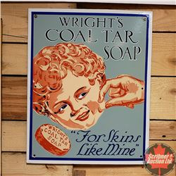 "Single Sided Porcelain Sign ""Wright's Coal Tar Soap"" (19"" x 15"")"