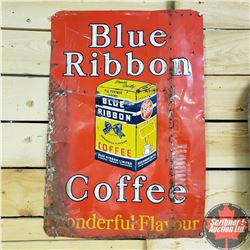 "Single Sided Tin Sign ""Blue Ribbon Coffee"" (27"" x 18"")"