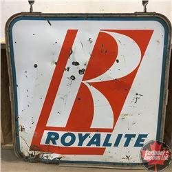 "Double Sided Porcelain ""Royalite"" Service Station Sign (5'x5') (Damage Corner)"