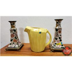 "McCoy Pitcher (7-1/2"") & Pair of Candle Sticks (Crest Mark Bottom) (9-1/2""H)"