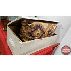 "White Painted Wood Trunk with Kilim Pillow (Did you know: ""Kilim Pillows are made from upcycled hand"