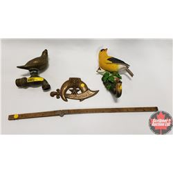 Combo 4 Items: Brass Bird Water Tap/Valve; Bird Hanger; 1946 Door Knocker & Folding Ruler