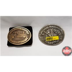 2 Belt Buckles : Hesston 1984 & Petro Canada