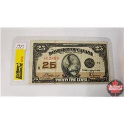 "Canada Twenty Five Cent Bill ""Shinplaster"" 1923"