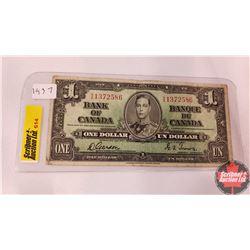 Canada One Dollar Bill 1937 (Gordon/Towers S/N#XA1372586)