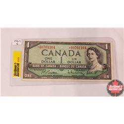 Canada One Dollar Bill *1954 Replacement Note (Beattie/Rasminsky S/N#*BM0701164)