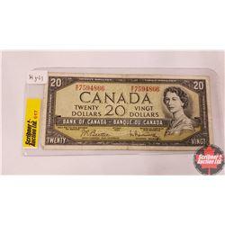 Canada Twenty Dollar Bill 1954 (Beattie/Rasminsky WE7594866)