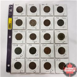 Canada One Cent - Sheet of 20: 1859; 1876H; 1882H; 1887; 1888; 1896; 1899; 1900; 1900; 1901; 1903; 1