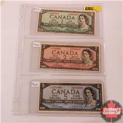 Canada 1954 Bills - Sheet of 3: $1 (Lawson/Bouey VF9225307); $2 (Bouey/Rasminsky JG7786887); $5 (Bea