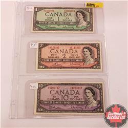 Canada 1954 Bills - Sheet of 3: $1 (Beattie/Rasminsky SP1565983); $2 (Bouey/Rasminsky KG1123335); $1