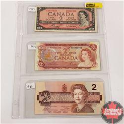 Canada $2 Bills - Sheet of 3: 1954 (Bouey/Rasminsky TG5037338) ; 1974 (Lawson/Bouey RW4906590) ; 198