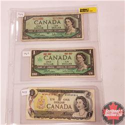 Canada $1 Bills - Sheet of 3: 1954 (Beattie Rasminsky RZ1713883) ; 1967 (Beattie/Rasminsky No S/N#)