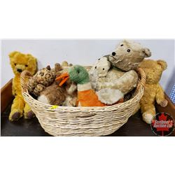 Basket of Vintage Stuffed Animals