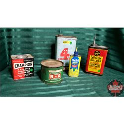 Oil Tin Collection (5) (B/A, Champion, 4 Star, etc)