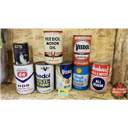 Oil Tin Collection (8) (Veedol, Woodward's, Pacific 66, Shell, Gulf) (Note: 5 are full)