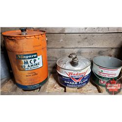 Collector Trio: B/A Grease Pail, Wagner Brake Fluid Pail, Niagara MCP Pail