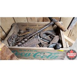 Coca-Cola Crate 1966 w/Variety of Hand Tools, Drill Bits, etc
