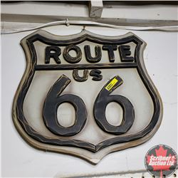 "Route 66 Wood Sign (17""x16"")"