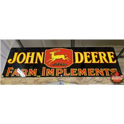 "Double Sided Porcelain Sign Quality Reproduction ""John Deere Farm Implements"" (19""x60"")"