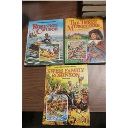 LOT OF THREE BOOKS - ROBINSON CRUSOE, THE THREE MUSKETEERS, ETC.