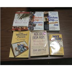 LOT OF SIX BOOKS - MEN ARE FROM MARS, WOMEN ARE FROM VENUS, CHICKEN SOUP FOR THE SOUL, ETC.