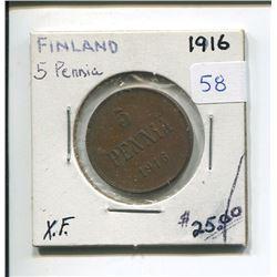 1916 FINLAND 5 PENNIA